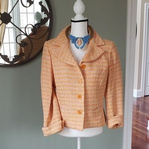 NEIMAN MARCUS tweed peach coral jacket 10